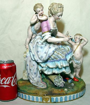 A Realy Nice Large Antique French Bisque Porcelain Group figurine