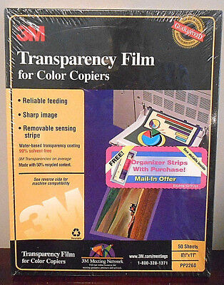 "NEW 3M Transparency Film for Color Copiers 50 Sheets 8.5""x11"" PP2260 NIB Sealed"