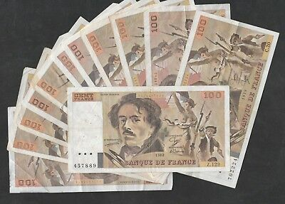 100 Francs From France 12 Pcs