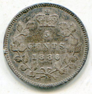 Canada 5 Cents silver 1886 small 6 nice coin  lotsep6015