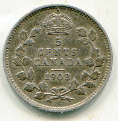 Canada 5 Cents silver 1903 no H very scarce nice coin  lotsep6016