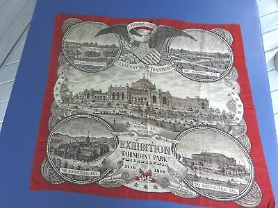 Beautiful 1876 Philadelphia Centennial Exposition Bandana, Nice