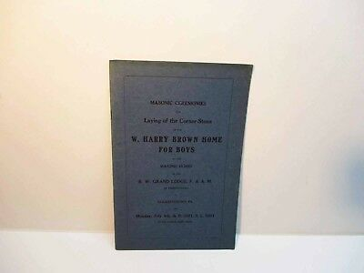 Masonic Ceremonies Laying Corner Stone W. Harry Brown Home Elizabethtown Pa 1921