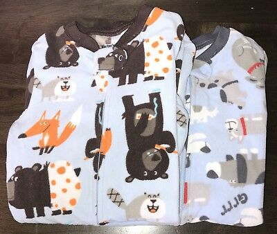 CARTER'S long sleeve fleece PAJAMAS 24 month Lot forest Animals Dogs Puppies