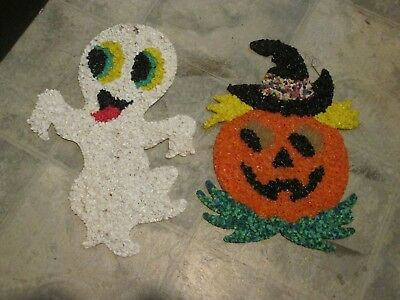 Vintage Melted Popcorn Halloween Ghost and Pumpkin