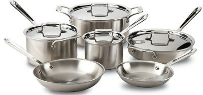 All-Clad D5 Stainless Brushed 18/10 Stainless Steel 10-Piece Cookware Set