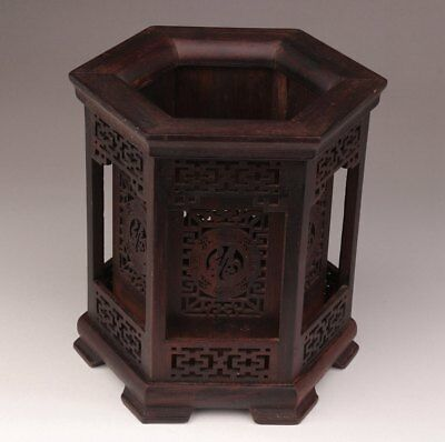 Chinese Brush Pot Black Wood Hollow-Out Engraving Double-Layer Desktop Tool