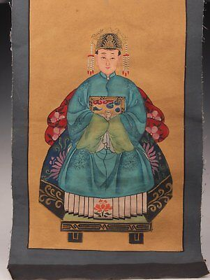 Hand-Painted Rare Chinese Queen Portraits Qing Decorative Painting Gift Old