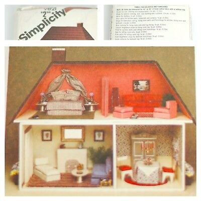 Vintage 1980s Simplicity 9821 Dollhouse & Furnishings Pattern NEW