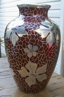 """Lush Silver Overlay Ox Blood Red Art Nouveau Pottery Baluster Form Vase 6.5"""""""