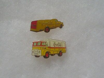 2 Coca Cola Yellow Delivery Truck Pins ~ 1997 ~ Marketed by Aminco