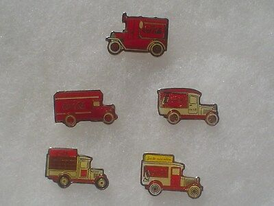 5 Coca Cola Old Time Delivery Truck Pins ~ Plain Backs