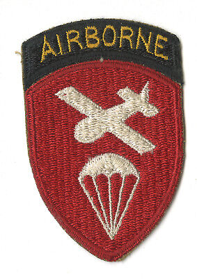 Wwii Original Airborne Command White Back Patch With Attached Tab