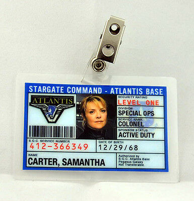 Stargate Command Atlantis ID Badge-Colonel Carter cosplay costume prop