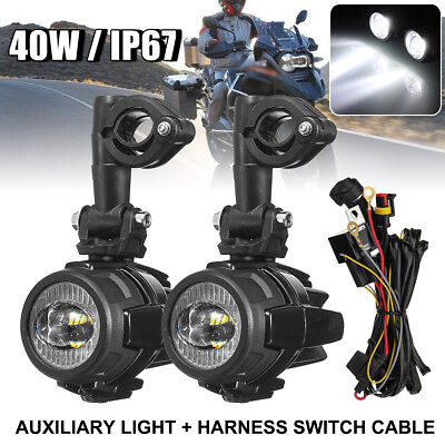 Auxiliary LED Spot light Driving Lamp With Harness Switch For BMW R1200GS ADV
