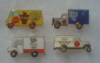 4 Coca Cola Olympic Delivery Truck Pins ~ Moscow Melbourne Nagano Rome