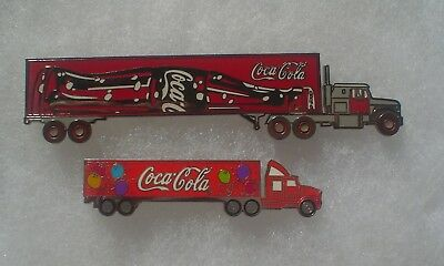 2 Coca Cola Semi Truck Pins ~ Balloons & Bottle of Coke