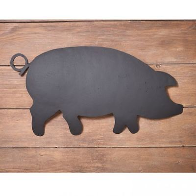 Country new Large textured black tin PIG wall hanging / nice