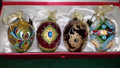 Joan Rivers Classic Collection 4 Egg Ornaments Set