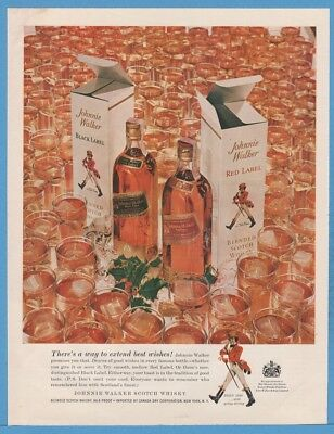 1959 Johnnie Walker Scotch Whisky Red Black label Christmas gift box photo ad