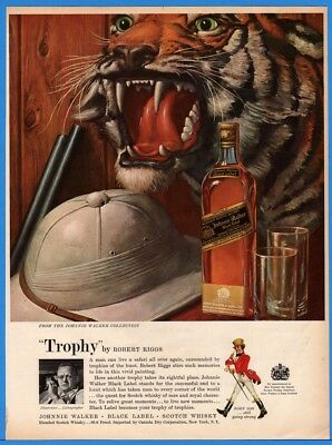 1960 Johnnie Walker Scotch Black Label TROPHY Robert Riggs African Safari Art Ad