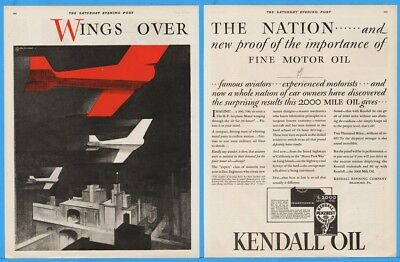 1929 Kendall Refining Co Bradford PA Motor Oil Wings Over The Nation Airplane Ad