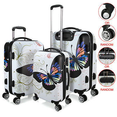 "20/24/28"" Hard 4 Wheels White Butterfly Design Travel Luggage Suitcase Cabin Bag"