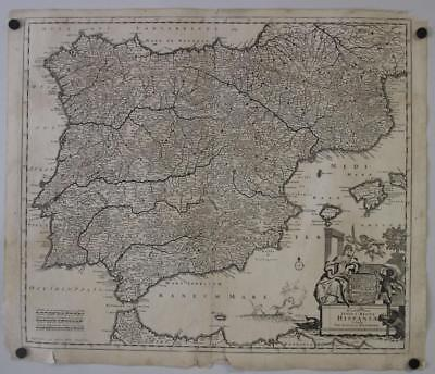 Spain Portugal Gibraltar 1690 Danckrts I Unusual  Antique Copper Engraved Map