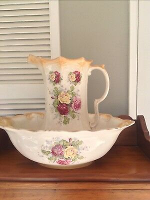 english China original floral Jug and Bowl.