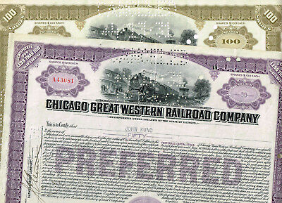 Set 2 Chicago and Great Western Railroad Co., 1930s, VF- see scan
