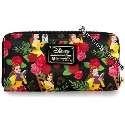 Disney Park Beauty and the Beast Princess Belle Rose Floral Loungefly Wallet NEW