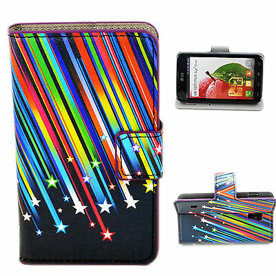 Shooting Stars Leather Holster Wallet Stand Case Cover For LG Optimus L7 II P715