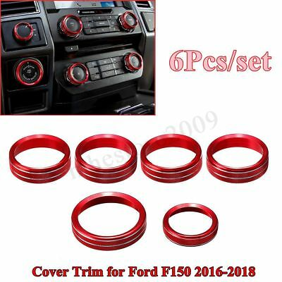 For 2016-2018 Ford F150 6x Air Conditioner & Audio Switch Knob Ring Cover Trim