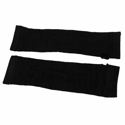 Lady Winter Stretchy Cuff Fingerless Black Knitted Long Gloves Arm Warmers Pair