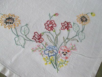 """VINTAGE TABLECLOTH HAND EMBROIDERED FLOWERS-LINEN-40""""sq."""