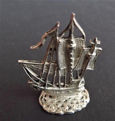 Rare Vintage Miniature Sailing Ship Marked 833 Silver Holland. Cast Silver.