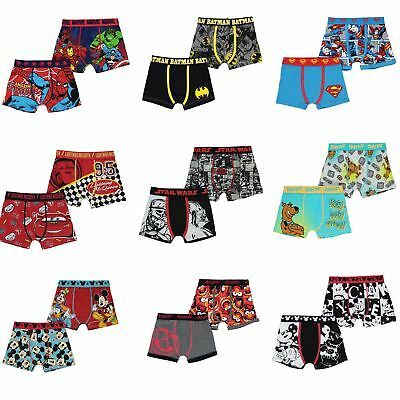 2x Boxer Shorts Boys Batman Superman Star Wars Marvel Muppets Disney Scooby Doo