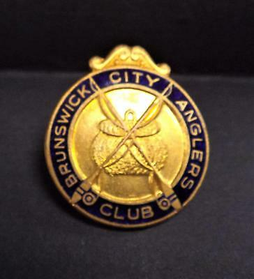 Scarce Vintage Enamel Brunswick City Anglers Club Badge. by Stokes Melbourne.
