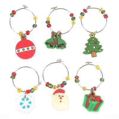 Set of 6 Christmas Wine Glass Charms Drink Markers Charm Rings Table Mark Tags G