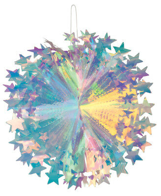 Iridescent Holographic Foil Honeycomb Shooting Star Ball Hanging Decoration 30cm