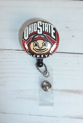 Ohio State Buckeyes OSU fabric Retractable ID Name Badge Holder Reel clip on