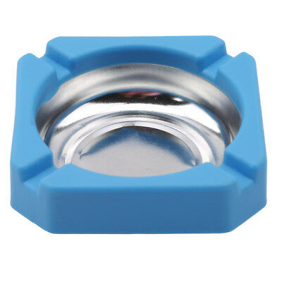 Blue Portable Stainless Steel Home Storage Square Cigarette Ashtray Gift LG