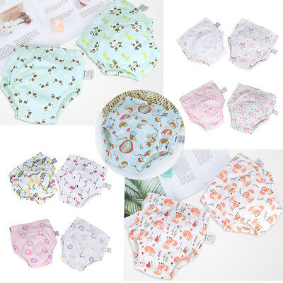 2Pcs Toddler Cotton Waterproof Reusable Potty Training Pants for Baby Boy Girl