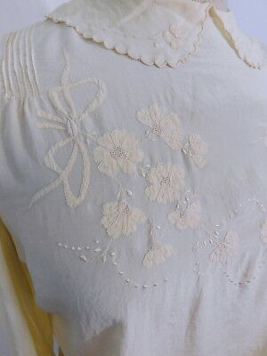 Antique Edwardian Beautifully Embroidered Silk Button Back Blousson Blouse M/L
