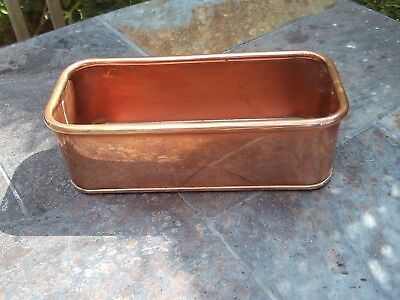 Vintage copper rectangular tray / pot / container
