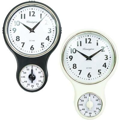 Vintage Retro Plastic Kitchen Wall Clock With Cooking Timer