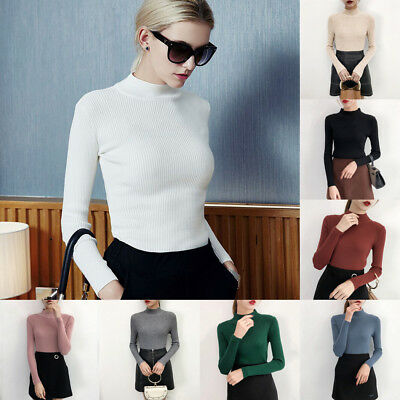 Women Slim Fitted Sweaters Pullover Knitted Elasticity Casual Turtleneck Sweater