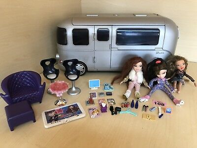 "BRATZ Large Silver 24"" MOTOR HOME TOUR BUS & HOT TUB 2004 Car Toy Dolls Bundle"