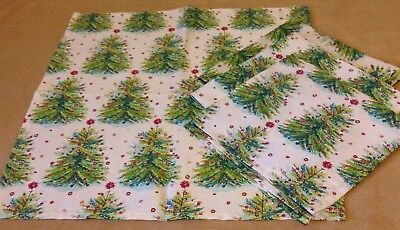 Four Large Dinner Napkins, Christmas Trees, Ivory, Green, Red, Gold