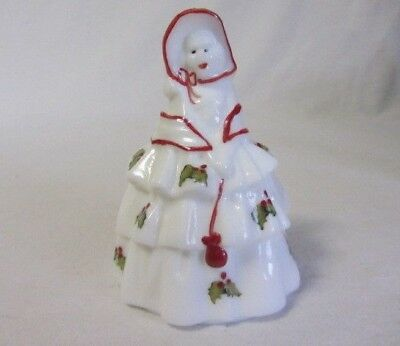 Boyd Glass Colonial Doll Louise  White Hp Christmas Holly Signed B Newton